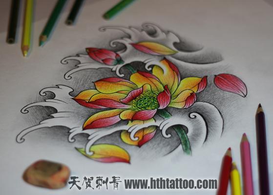 荷花纹身手稿 - 北京纹身|北京纹身店|朝阳纹身|北京