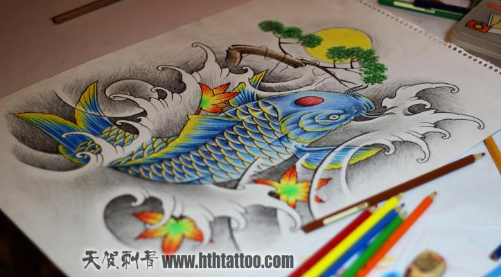 鱼牡丹纹身手稿分享展示