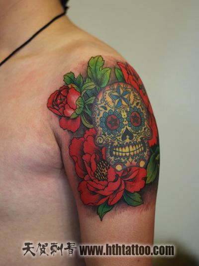 牡丹花包臂纹身手稿 >